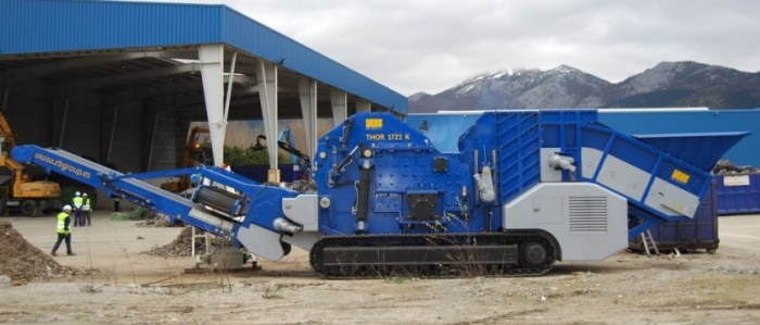 Non ferrous scrap processing THOR mobile hammermill shredders
